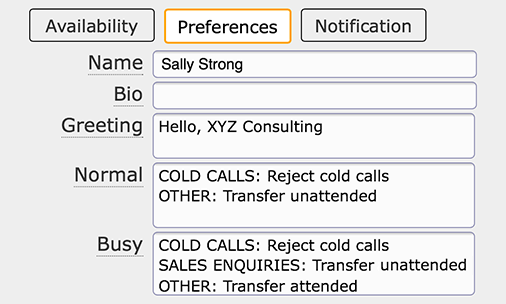 Call transfer instructions seen in dmConsole